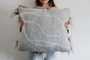 Oversized Gray Sheepscape pillow