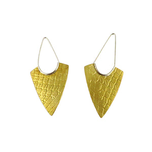 Brass Textured Arrowhead Earrings