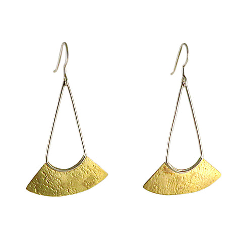 Brass Textured Fan Earrings