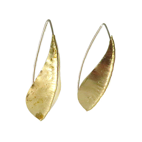 Brass Large Beech Foldform Earrings