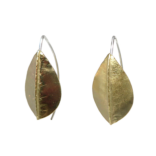 Brass Beech Foldform Earrings