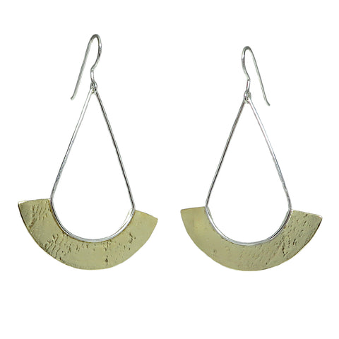 Brass Large Textured Fan Earrings