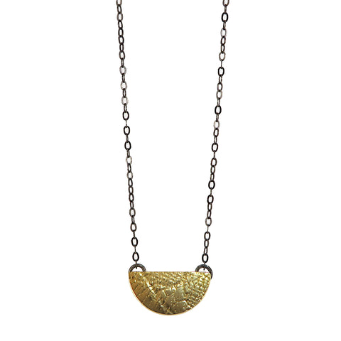 Brass Textured Half Moon Pendant