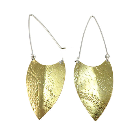 Brass Textured Shield Earrings