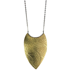 Brass Textured Shield Pendant