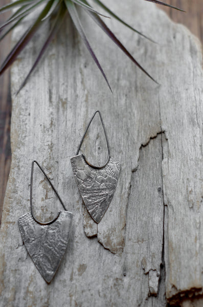 Silver Textured Arrowhead Earrings