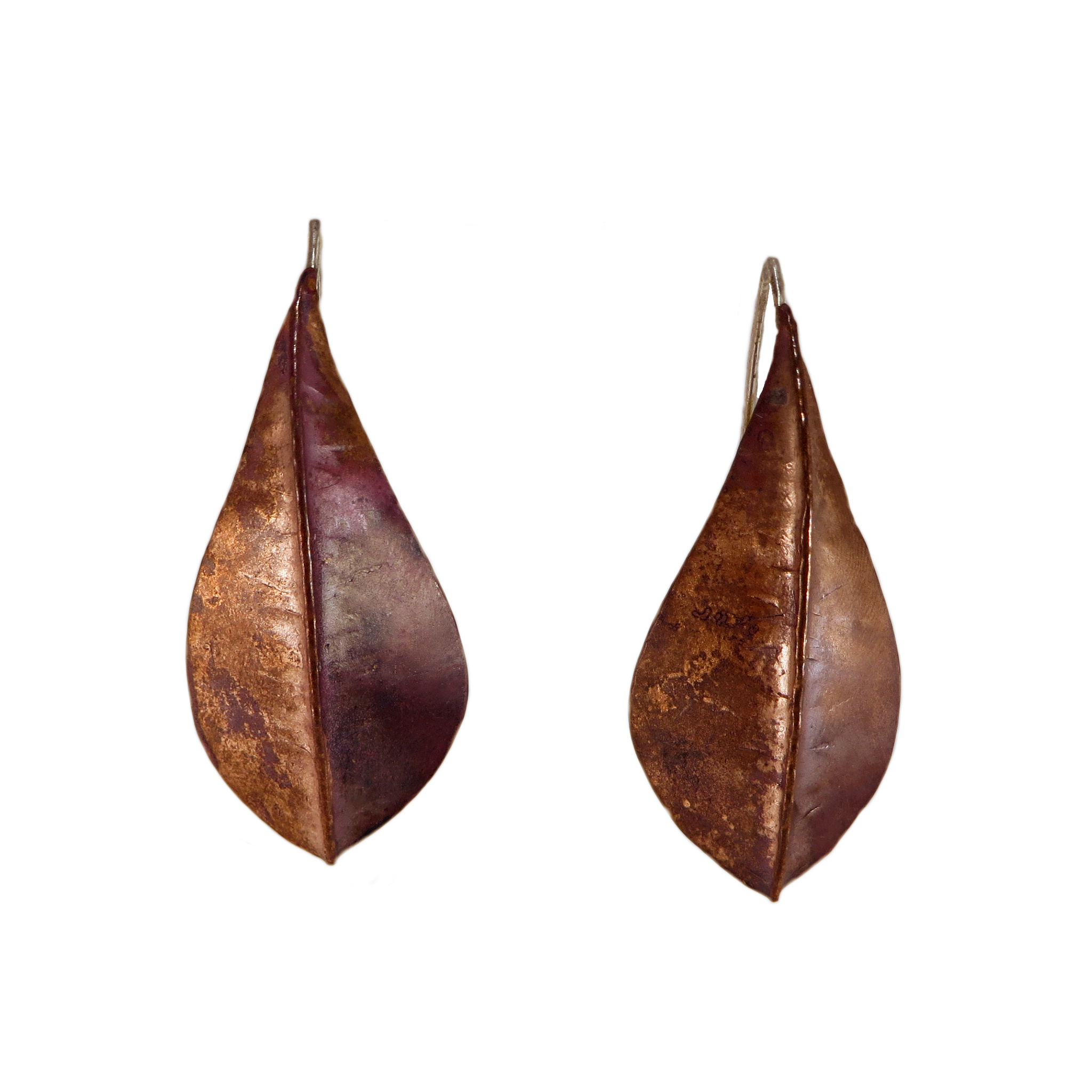 Copper Large Beech Foldform Earrings
