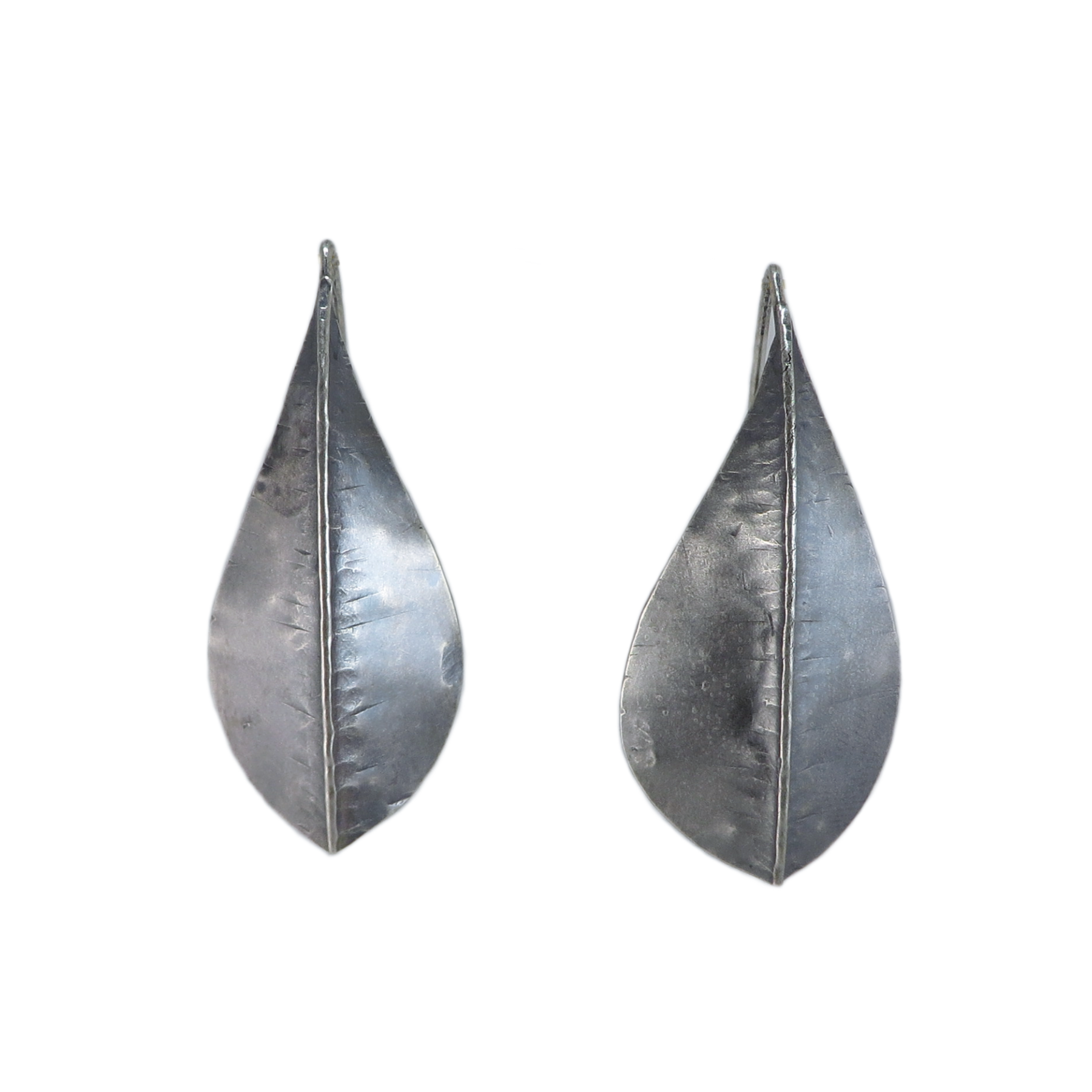 Silver Large Beech Foldform Earrings