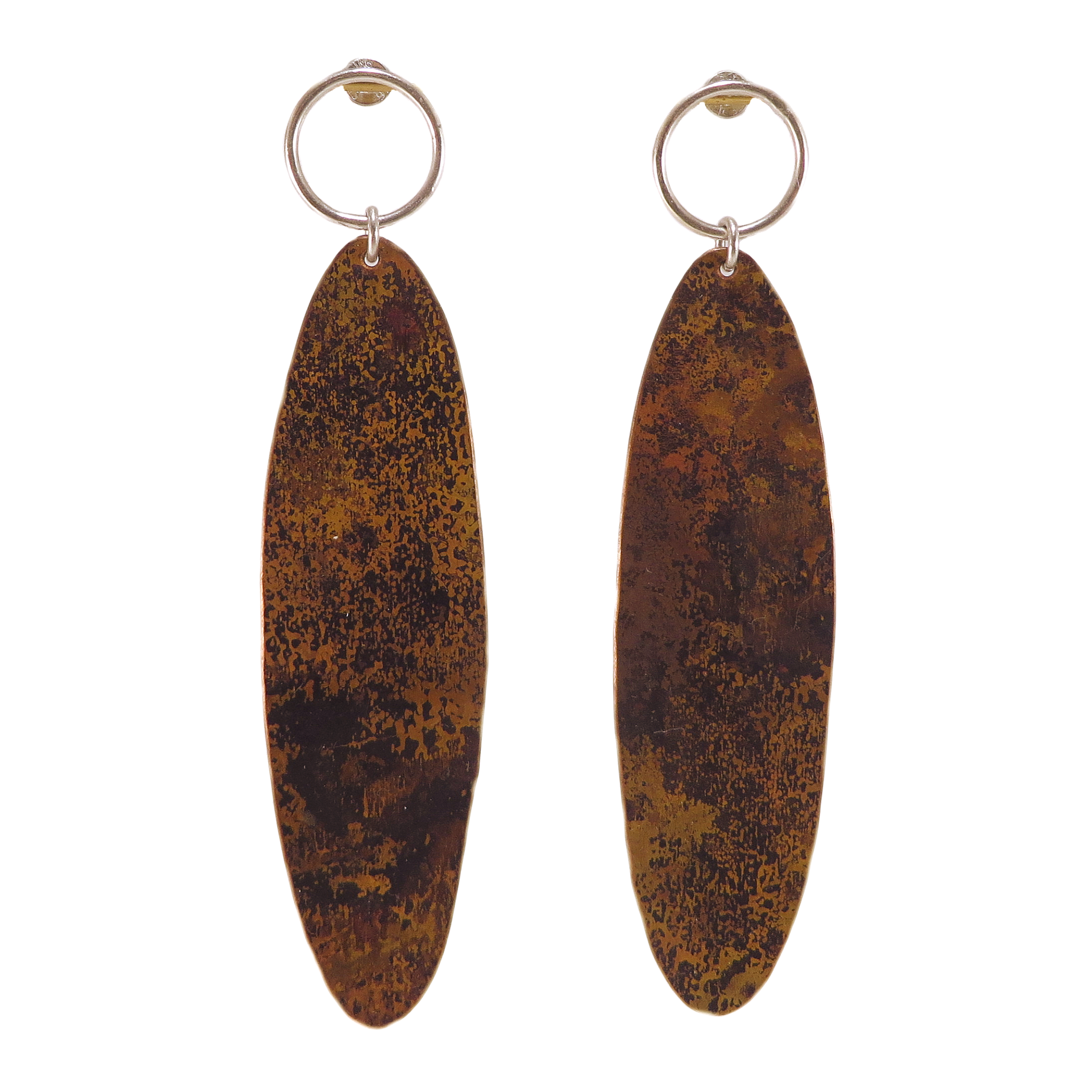 Copper Ellipse Post Earrings