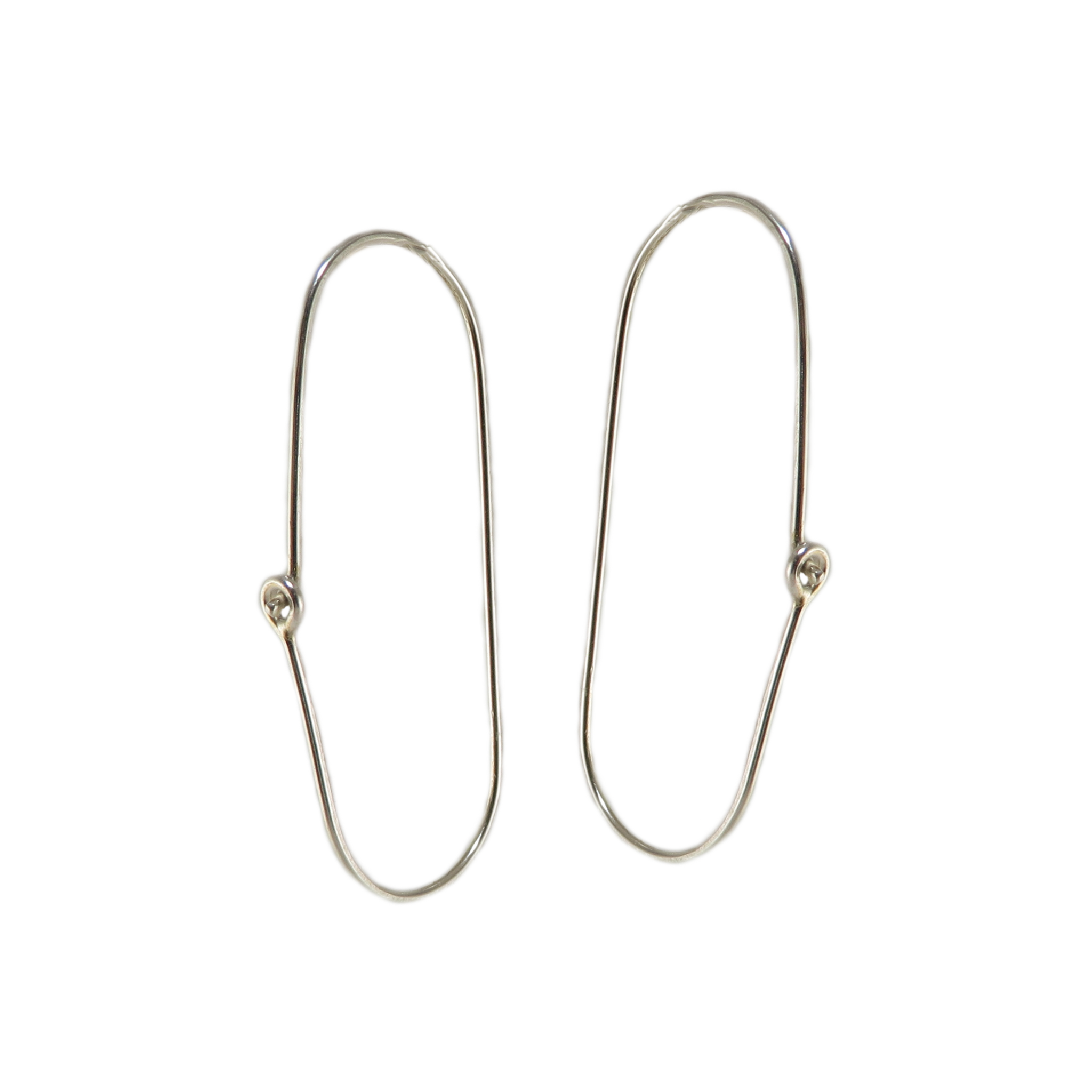 Silver Oval Wire Hoop Earrings