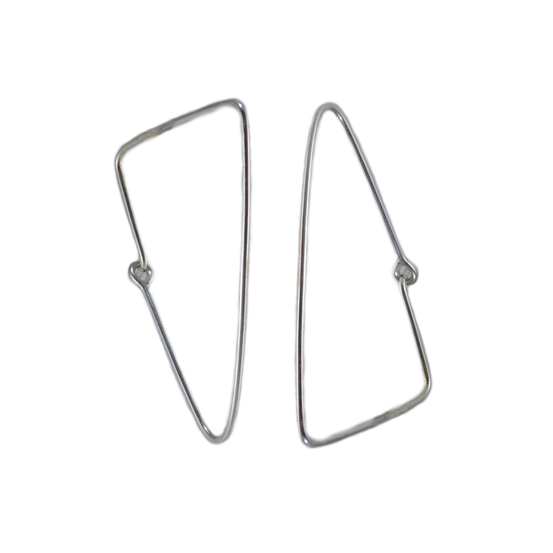 Silver Triangle Wire Hoop Earrings