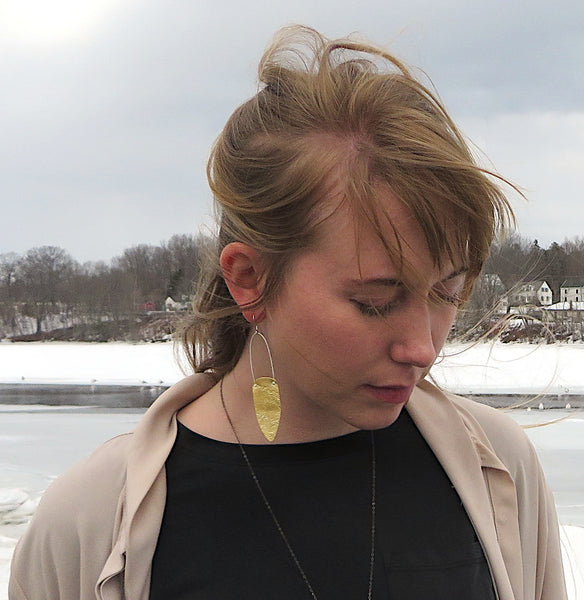 Brass Long Textured Shield Earrings