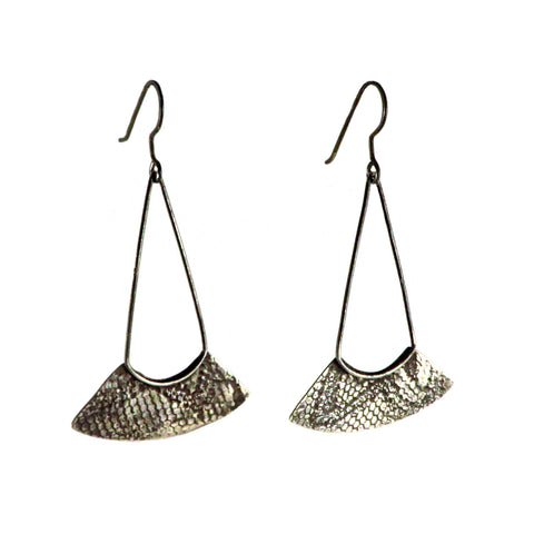 Silver Textured Fan Earrings