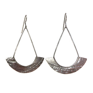 Silver Large Textured Fan Earrings