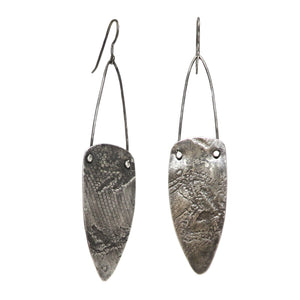 Silver Long Textured Shield Earrings