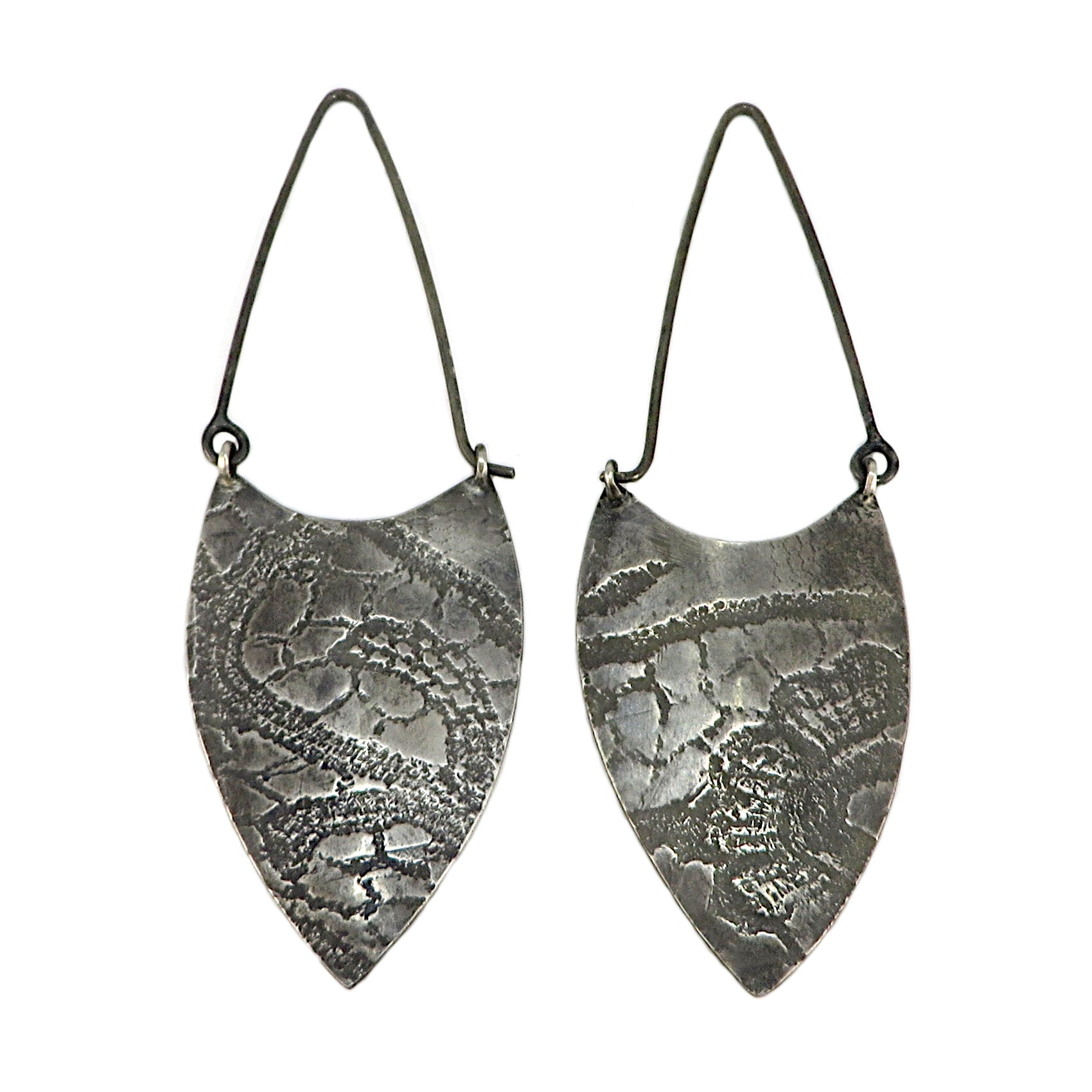 Silver Textured Shield Earrings