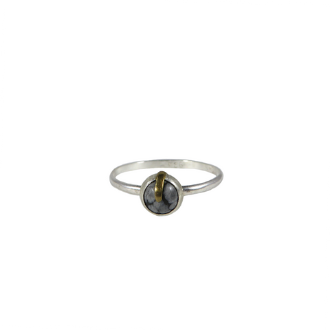 Snowflake Obsidian Ring with Brass Claw (One of a Kind)