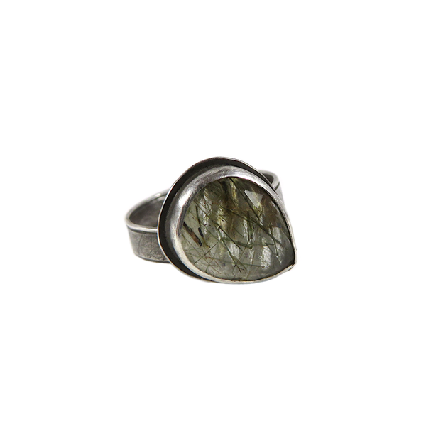 Teardrop Rutilated Quartz Ring