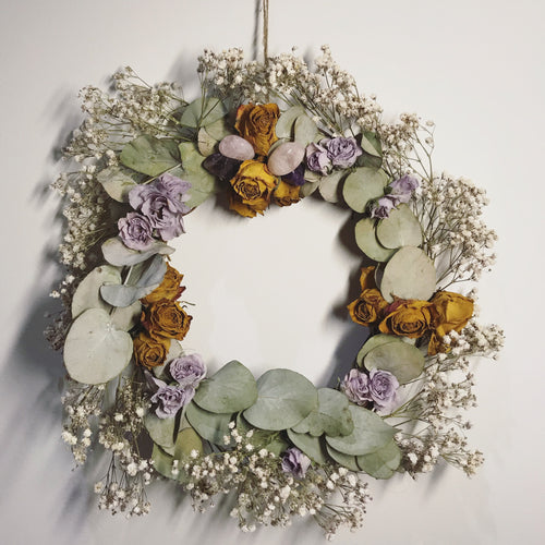 Handmade Dried Floral + Crystal Wreath