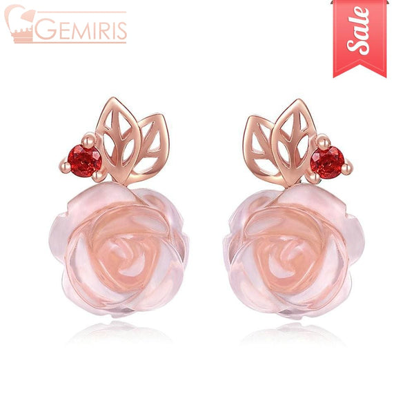Alcyone 100% Natural Pink Rose Quartz Earrings - Earring - $32.99