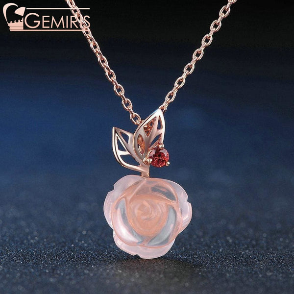Alcyone 100% Natural Pink Rose Quartz Pendant - Necklace - $49.99
