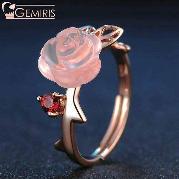 Alcyone 100% Natural Pink Rose Quartz Ring - Ring - $42.99