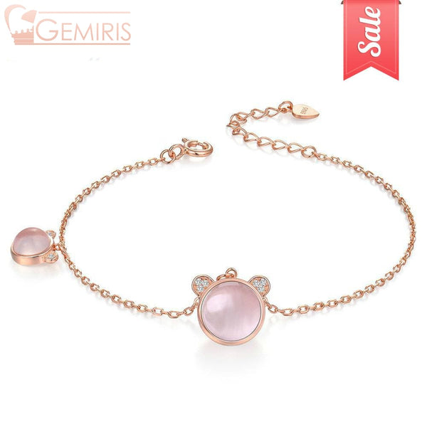 Ara 100% Natural Rose Quartz Bear Bracelet - Bracelet - $34.99