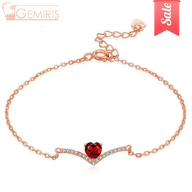 Asellus Natural Garnet Heart On Branch Bracelet - Bracelet - $24.99