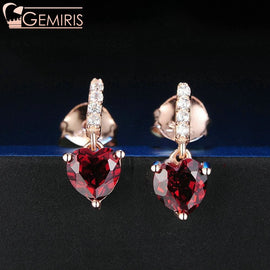 Asellus Natural Garnet Heart On Branch Earrings - Earring - $34.99