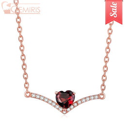 Asellus Natural Garnet Heart On Branch Pendant - Necklace - $39.99