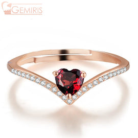 Asellus Natural Garnet Heart On Branch Ring - Ring - $38.99