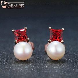 Avior 100% Natural Garnet & Pearl Earrings - Earring - $33.99