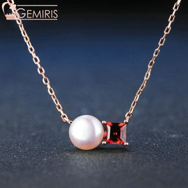 Avior 100% Natural Garnet & Pearl Pendant - Necklace - $44.99