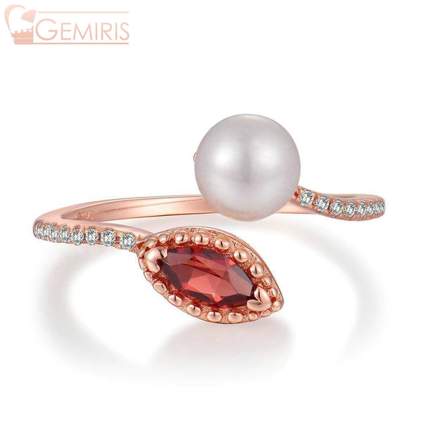 Avior 100% Natural Garnet & Pearl Ring - Ring - $32.99