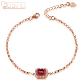 Becrux 100% Natural Rectangle Garnet Bracelet - Bracelet - $49.99