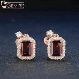 Becrux 100% Natural Rectangle Garnet Earrings - Earring - $59.99