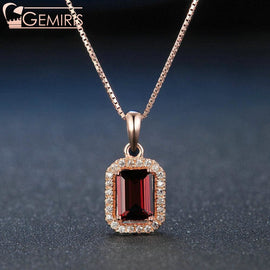 Becrux 100% Natural Rectangle Garnet Pendant - Necklace - $55.99