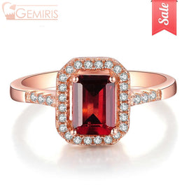 Becrux 100% Natural Rectangle Garnet Ring - Ring - $32.99