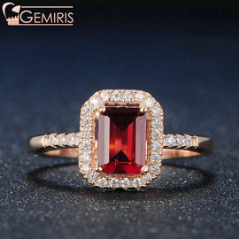 Becrux 100% Natural Rectangle Garnet Ring - Ring - $56.99