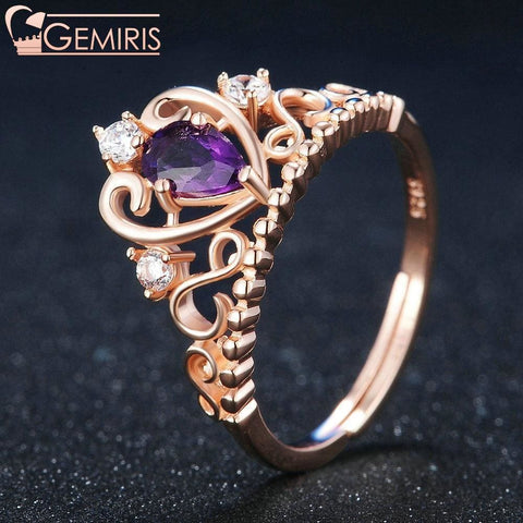 Capella Natural Amethyst Heart Crown Ring - Ring - $32.99