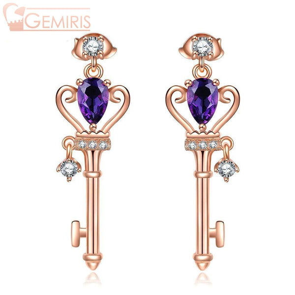 Capella Natural Amethyst Lucky Key Earrings - Earring - $54.99