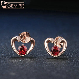 Carina 100% Natural Garnet Open Heart Earrings - Earring - $37.99