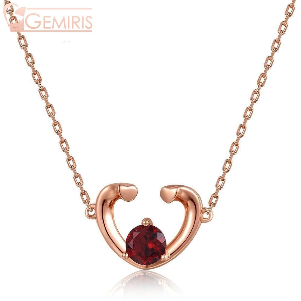 Carina 100% Natural Garnet Open Heart Pendant - Necklace - $57.99