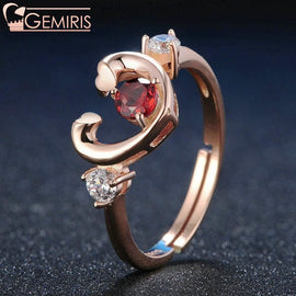 Carina 100% Natural Garnet Open Heart Ring - Ring - $34.99