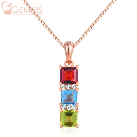 Chara 100% Natural Multi-Gem Pendant - Necklace - $49.99