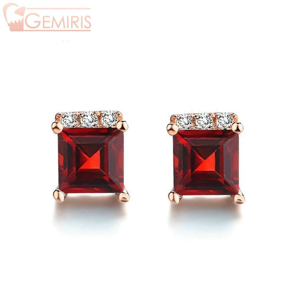 Chara 100% Natural Square Garnet Earrings - Earring - $34.99