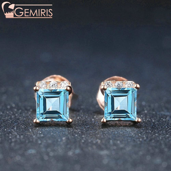 Chara 100% Natural Topaz Square Earrings - Earring - $34.99