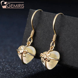 Cursa Natural Citrine Wrapped Heart Earrings - Earring - $44.99