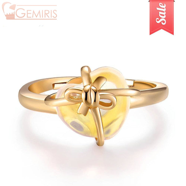 Cursa Natural Citrine Wrapped Heart Ring - Ring - $48.99