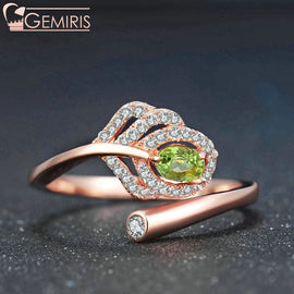 Enif 100% Natural Green Peridot Leaf Ring - Ring - $39.99